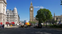 Pan across Parliament Square with Big Ben - stock footage