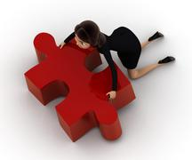 3d woman trying to carry big puzzle piece concept Stock Illustration