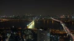 Seoul Korea Waterfront Bridges Stock Footage