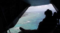 USS EDDEX COAST HAWAII, MAY 2015, Ospray In Air One Osprey Aircraft Background Stock Footage