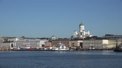 Helsinki (in 4k) as seen from a Suomenlinna ferry in Helsinki harbour, Finland. Stock Footage