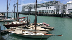 Yachts mooring at Auckland Viaduct Harbor Basin New Zealand Stock Footage