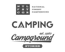 Set of retro camping badges and label logo graphics. Campground, mountain Stock Illustration