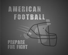 Modern unique american football poster with motivation quote  prepare for fight - stock illustration