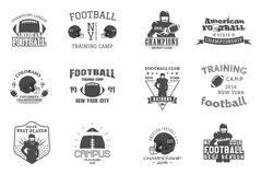 Stock Illustration of College rugby and american football team, campus, college badges, logos labels