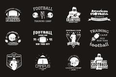 College rugby and american football team, campus, college badges, logos labels - stock illustration