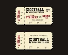 American Football, Rugby or Soccer Ticket Card Retro design. University Stock Illustration