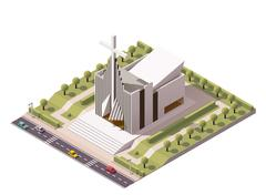 Vector isometric modern church - stock illustration