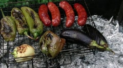 Grilled sausages, grilled green peper Stock Footage
