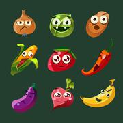 Funny Vegetable and Spice Cartoon, Vector Illustration Set in Flat Style - stock illustration