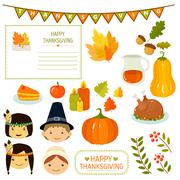 Stock Illustration of Thanksgiving Elements in Flat Style, Vector Illustration
