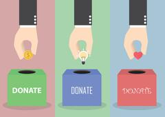 Businessman hand putting coin, light bulb and heart into the box, Donation co - stock illustration