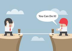 "Businessman motivate his friend to cross the cliff by saying ""You Can Do It"" - stock illustration"