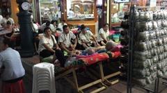 Street foot massage in Bangkok Stock Footage
