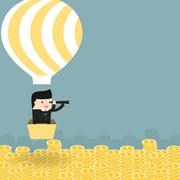 Stock Illustration of Business situation. Businessman flying in a balloon.