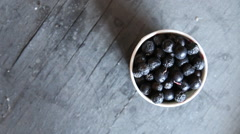 Black chokeberry on a black background Stock Footage