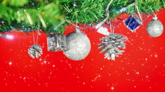 Stock Video Footage of christmas decorations on tree and glitter loop 4k (4096x2304)