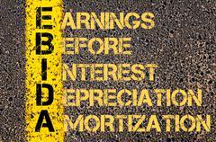 Concept image of Business Acronym EBIDA as EARNINGS BEFORE INTEREST DEPRECIAT - stock illustration