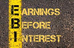 Business Acronym EBI as EARNINGS BEFORE INTEREST - stock illustration