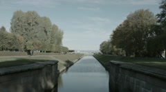 Tourists Walking By The Sea Channel In Peterhof Stock Footage