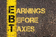 Business Acronym EBT as EARNINGS BEFORE TAXES Stock Illustration