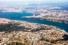 Stock Photo of View over Lisbon - aerial view