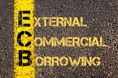 Business Acronym ECB as EXTERNAL COMMERCIAL BORROWING - stock illustration