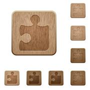 Puzzle wooden buttons Stock Illustration