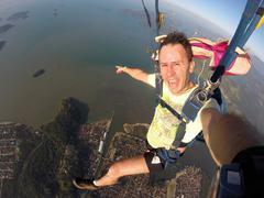 Skydiver self portrait rio de janeiro Stock Photos