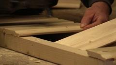 Carpenter Shoot Nail Gun On Wood Planks Stock Footage