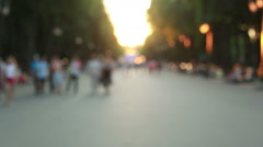 People in summer park fast mode Stock Footage
