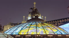 Glass cupola crowned by a statue of Saint George, patron of Moscow, at the Stock Footage