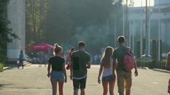 Group of teenage guys hanging around, walking in park, enjoying summer holidays Stock Footage