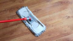 Floor cleaning with mop Stock Footage