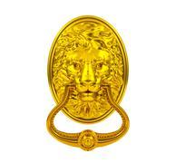 Golden lion door knocker - stock illustration