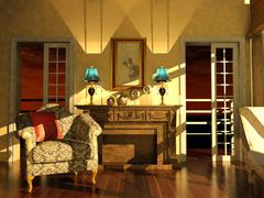 Classic living room interior in dusk light Stock Illustration