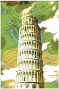 Stock Illustration of Famous pisan tower rendered with engraving effects