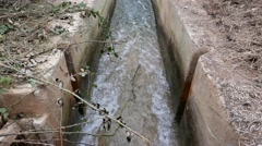 Water Flowing in a Concrete Irrigation Ditch Stock Footage