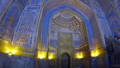Decoration inside Tilya-Kori Madrasah, Registan square, Samarqand, Uzbekistan. Stock Footage