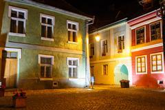 Stock Photo of historical center of Sighisoara at night
