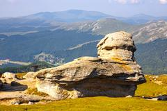 Geomorphologic rocky structures in Bucegi Mountains, Romania - stock photo