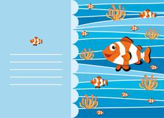 Paper design with clownfish swimming Stock Illustration