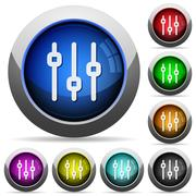 Vertical adjustment button set - stock illustration