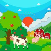 Farm scene with animals and barn Stock Illustration