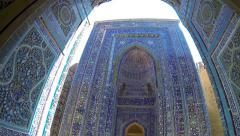 Mosaics and wood carving in ancient complex of Shah-i-Zinda, Samarkand Stock Footage