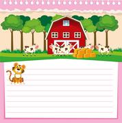 Line paper design with barn and cows Stock Illustration