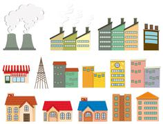 Different kind of buildings Stock Illustration
