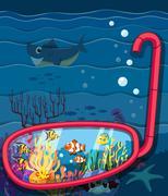 Ocean scene with sea animals Piirros
