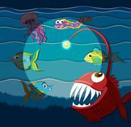 Ocean scene with sea monsters Piirros