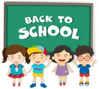 Back to school theme with boys and girls Stock Illustration